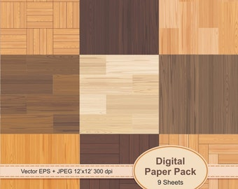 Set of 9 wooden texture. Digital Scrapbook Paper Pack. 9 Sheets Vector EPS & JPEG 300 dpi 12'x12'