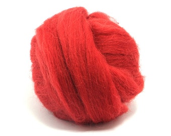 Poppy (red) - Shetland Wool Top - Roving - Needle/Wet/Nuno Felting Wool - Spinning
