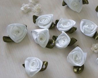 "7/8"" white Satin Ribbon Flower Appliques -36pcs"