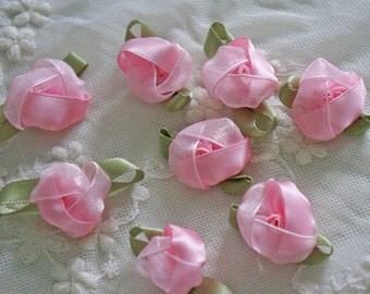 "1"" pink Organza Satin Ribbon Flower Appliques -30pcs"