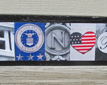 HONOR AIR FORCE Photo Letter Art Wood alphabet art letters on wood