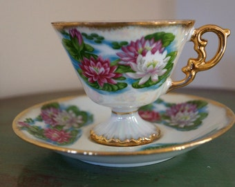 UCAGCO Ceramics Japan July Water Lily Coffee/Tea Cup & Saucer