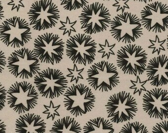 Inkwell - Rustic Star Fabric - Inkwell Woodcut Starburst Charcoal/Taupe by Meg Hawkey of Crabapple Hill for Lecien 30522-11  1/2 yard
