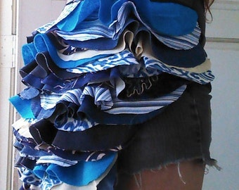 Blue and Gold Ruffle Bustle