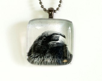 Raven Photo Pendant Necklace - Photo Necklace - Photo Jewelry - Raven Necklace - Raven Jewelry - 24 Inch Gunmetal Plated Ball Chain Incl