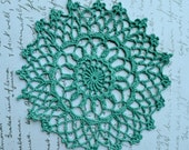 4 Teal Crochet Doilies - Hand dyed - Forrest Green - Rosette - Upcycled - Raspberrytreats