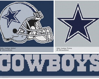 Cross Stitch Pattern For Nfl Dallas Cowboys 2 Variations