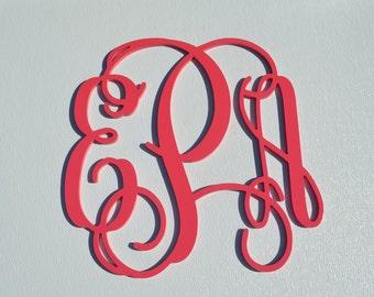35'' Custom Wood Monogram in Vine Font, Wooden wall monogram, photo prop, nursery decor