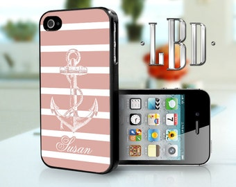 iPhone 4 4s Case - Coral Anchor w/ Stripes Name iP4