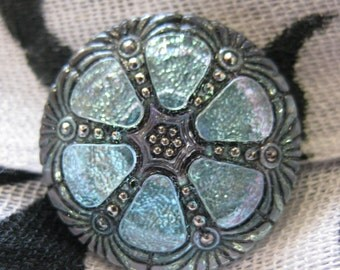 Shimmering Forget Me Not Blue Wheel Czech Glass Button 27 mm