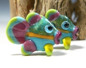 MADE TO ORDER:  Adorable Pair of Turquoise, Pink and Green Lampwork Fish Bead Pair by StarFishyBeads