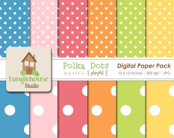 Bright Polka Dot Digital Paper Pack    Digital Scrapbooking Basics   Blue Pink Orange Green Yellow Polka Dots