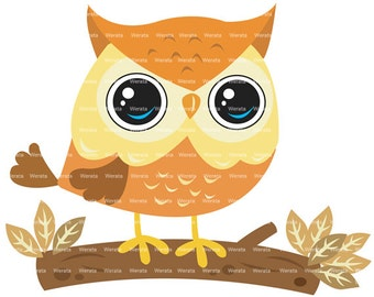 owl on branch clipart digital clipart - cute owl Digital Clip Art - digital owl clipart - cute owl clip art - Personal and Commercial Use