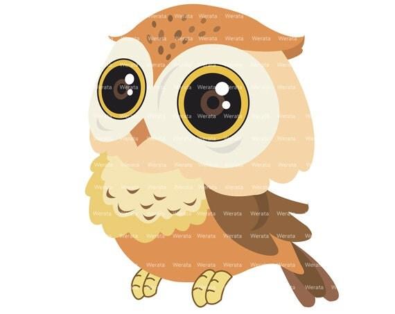 brown owl clip art digital clipart Cute Owl Digital by Werata