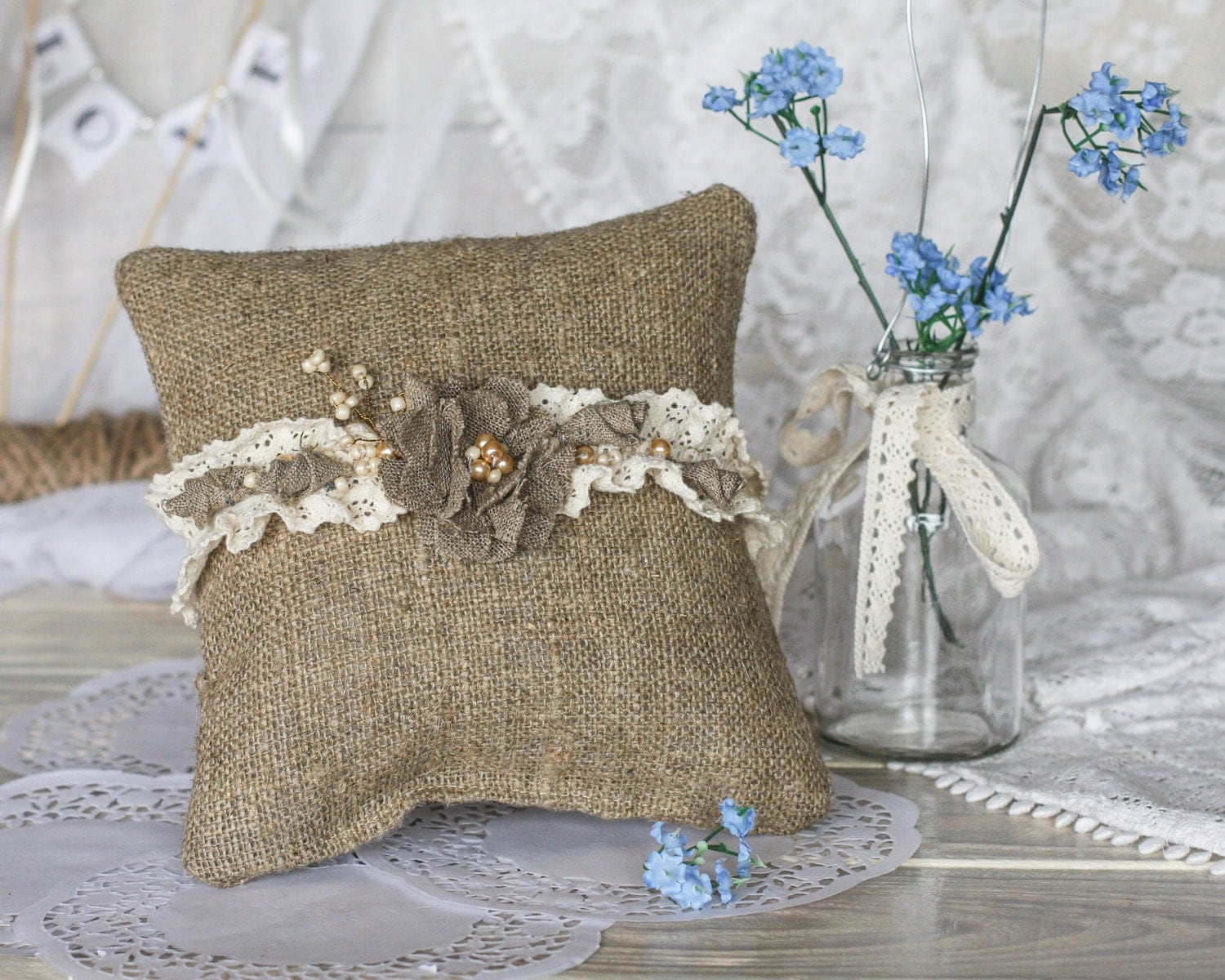 rustic wedding ring bearer pillow with by rusticbeachchic
