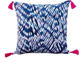 Shibori chevron pillow