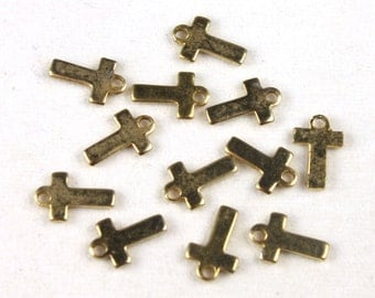12x Vintage Plated Initial Charms - M030-Fat T/pl