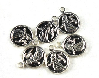 6x Vintage Silver Plated Virgo Charms - M029-A