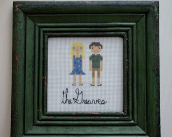 Cross Stitch Portrait w/out frame, 4 People- handmade, made to order, custom portrait