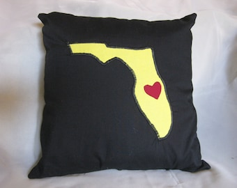 FREE SHIPPING Florida Pillow Cover with Heart - UCF Knights