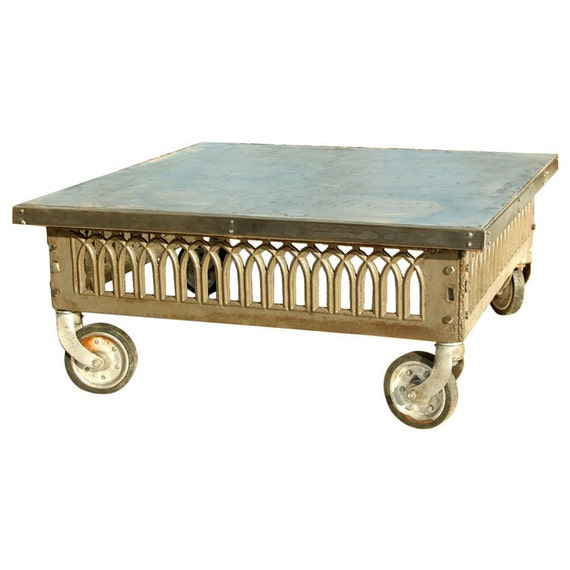 49 Coffee Table Nickel Finish Solid Iron Casters: Vintage Industrial Cast Iron And Zinc Coffee Table
