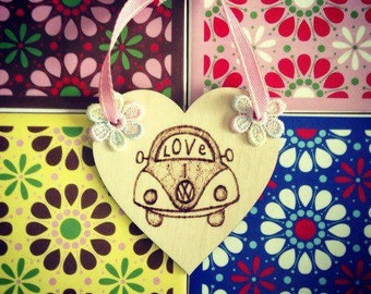 Love Bug Beetle Hanging Heart with Flower Embellishment- pyrography