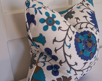 WITH PIPING!  Decorative Pillows , Susani Turquoise Designer Pillow. Designer Pillows, 18x18, 20x20, and Lumbar sizes, Accent Pillow