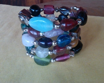 Glass bead memory wire bracelet