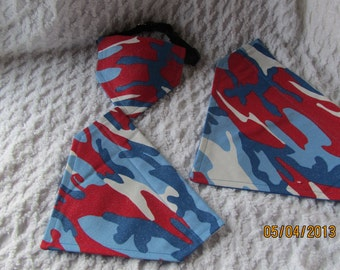 READY TO SHIP 4th of July Camo Dog Scarf