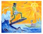 FRANKENSURFER FRANKENSTEIN SURFING Print Wave Beach Summer Sun Lowbrow Mike Von Hoffman