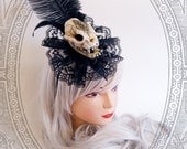 Cat Skull Fascinator (Vegan , Goth, Black, Skeleton, Baroque, Steampunk)
