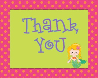 Bright and Fun Under the Sea/Mermaid Thank you notes