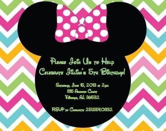 Bright Chevron Minnie Birthday Invitation