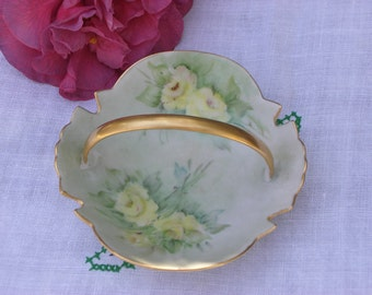 Dish - Hand Painted - China with Handle - Vintage