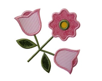 """Old English Rose and Buds Applique Machine Embroidery Design Pattern in 4 sizes 3"""", 4"""", 5"""" and 6"""""""