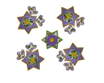 "Star Flower and Buds Set Applique Machine Embroidery Design Pattern in 3 sizes 4"", 5"" and 6"""