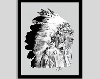 Indian Chief Print- 11x14