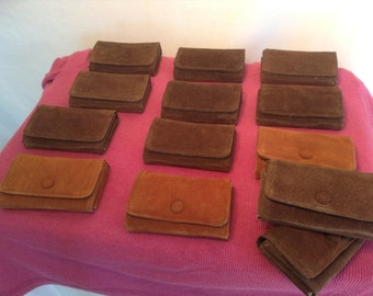 Wholesale lot of 13 brown suede leather wallets 1970s pouch coin purse