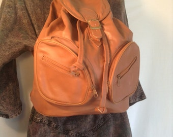 Backpack vegan,backpack bag,faux leather bag,bags purses, 1980s unused, Free shipping