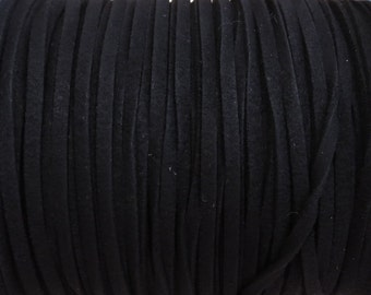 3x1.5mm Black Faux Suede Cord - (G2)