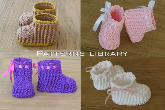 Ribbed Baby Booties Crochet Pattern for boy or girl from ...