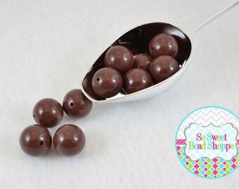 20mm Chunky Acrylic Beads 10ct, Brown, Gumball Beads, Round