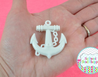 Acrylic Anchor Pendant, 4ct, White, 38mmx45mm
