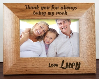 My Dad is My Rock Engraved Photo Frame - Gift for Dad - Father's Day Gift - Enrgaved - Frame - FREE UK DELIVERY!