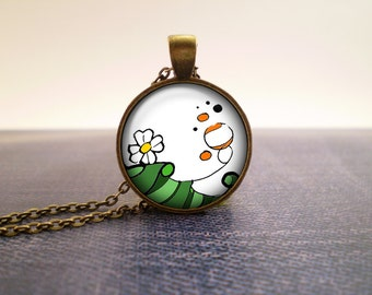 Garden flowers glass pendant, hand-drawn design