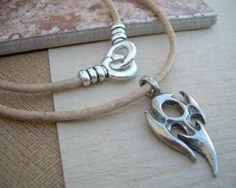 Leather Necklace, Tribal Pendant , Mens Necklace, Mens Jewelry, Mens Gift, Pendant, Tribal