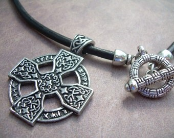 Celtic  Cross Pendant on a Leather Neckace, Mens Necklace, Mens Jewelry, Mens Gift, Pendant, Religious Jewelry, Leather Jewelry, Celtic