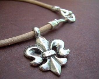 Leather Necklace, Fleur de lis  Pendant , Mens Necklace, Womens Necklace,