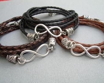 Infinity Bracelet, Leather  Bracelet,  Mens Bracelet,  Womens Bracelet, Mens Jewelry, Womens Jewelry, Infinity, Mens Gift, Womens Gift