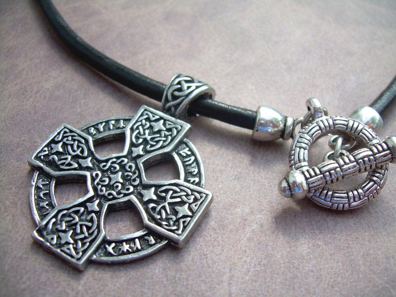 leather necklace celtic cross pendant mens necklace mens